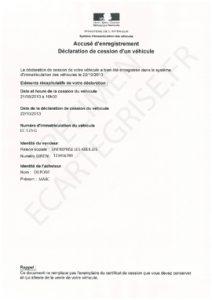 Specimen accuse enregistrement declaration de cession