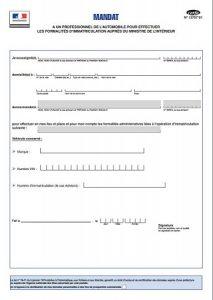 Mandat d'immatriculation