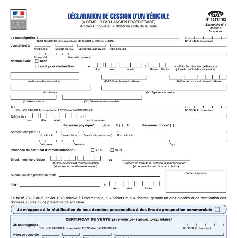 formulaire de déclaration de cession