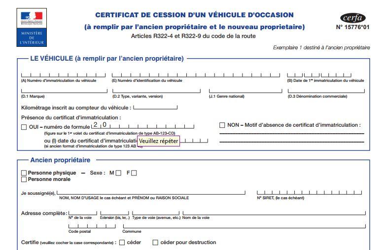 cerfa 15776*01 - formulaire de déclaration de cession
